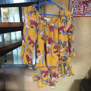 Fever yellow floral off shoulder blouse